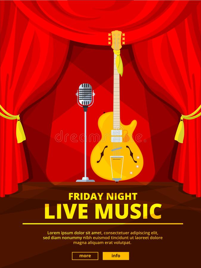 Invito del manifesto al concerto di musica in diretta Immagine di vettore di retro microfono e chitarra acustica illustrazione vettoriale