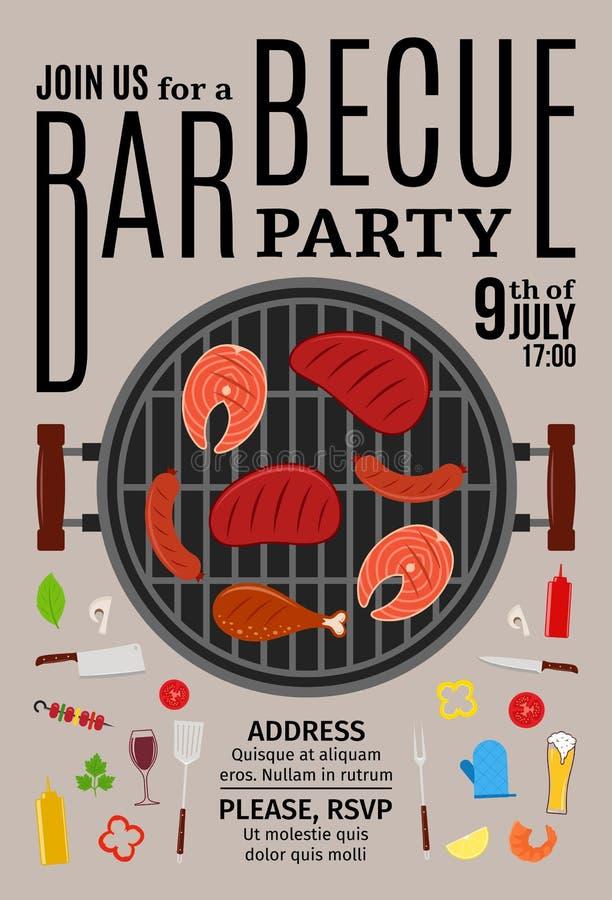 Invito del partito del barbecue di vettore illustrazione vettoriale
