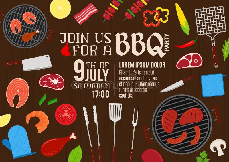 Invito del partito del barbecue di vettore illustrazione di stock