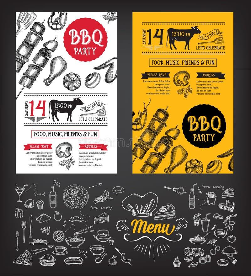 Invito del partito del barbecue Progettazione del menu del modello del BBQ Aletta di filatoio dell'alimento illustrazione vettoriale