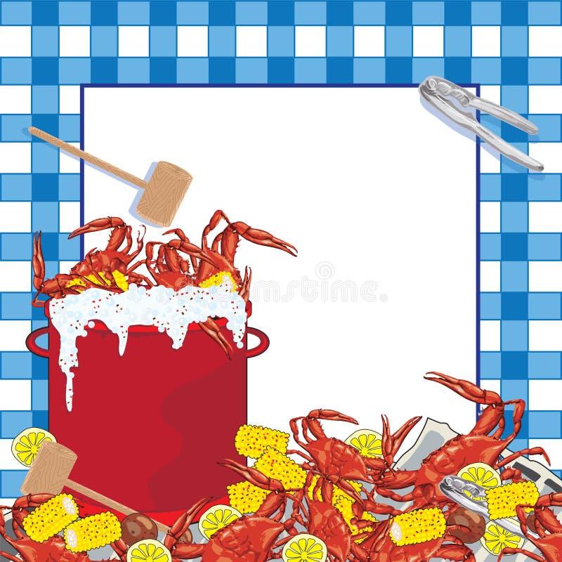 Invito del partito del Boil del granchio. fotografia stock