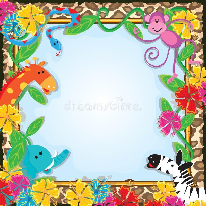Invito del partito del giardino zoologico della giungla royalty illustrazione gratis