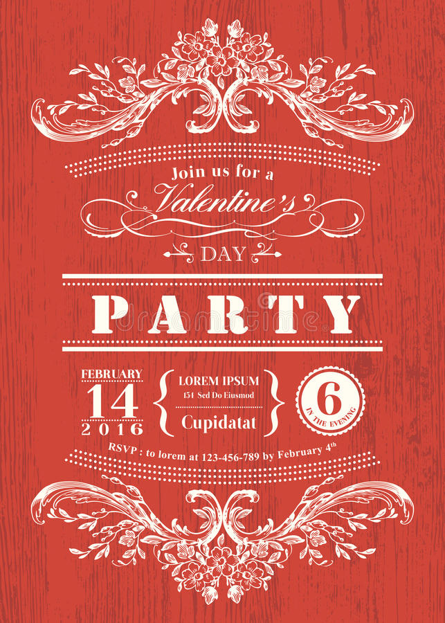 Invito del partito della carta di giorno di S. Valentino con la struttura d'annata sul fondo rosso del bordo royalty illustrazione gratis