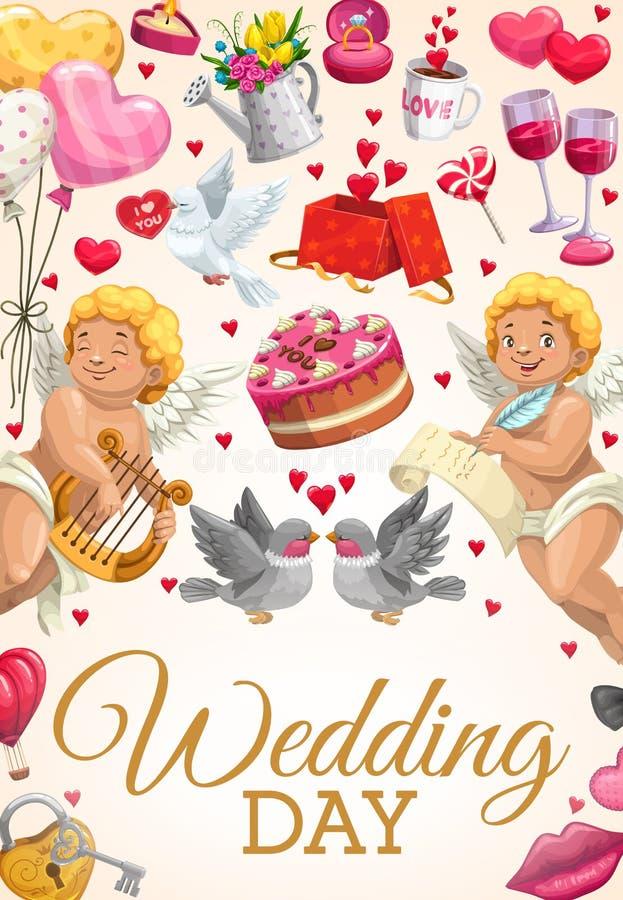 Invito del partito di impegno, cerimonia di giorno delle nozze illustrazione di stock