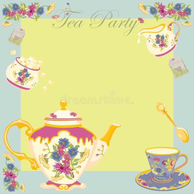 Invito del partito di tè del Victorian illustrazione di stock