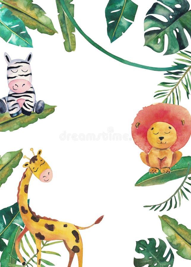 Invito dell'acquerello con gli animali selvatici e le foglie della giungla Illustrazione disegnata a mano dei bambini royalty illustrazione gratis