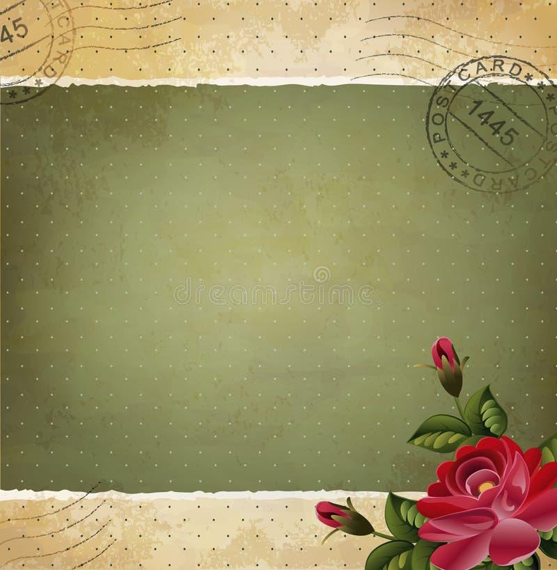 Invito dell'annata con una rosa, bollata illustrazione di stock