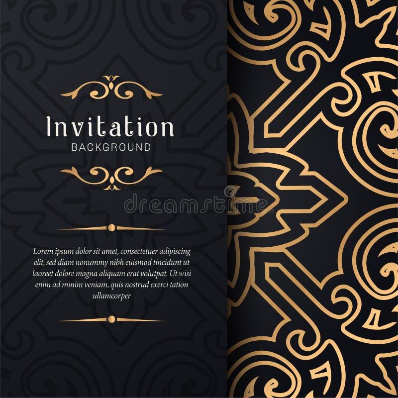 Invito della cartolina d'auguri con pizzo e gli ornamenti floreali, illustrazione ornamentale del fondo del modello dell'oro, illustrazione vettoriale