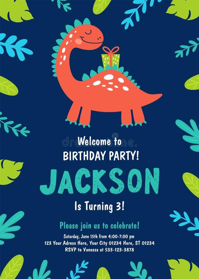 Invito della festa di compleanno del dinosauro Vettore royalty illustrazione gratis