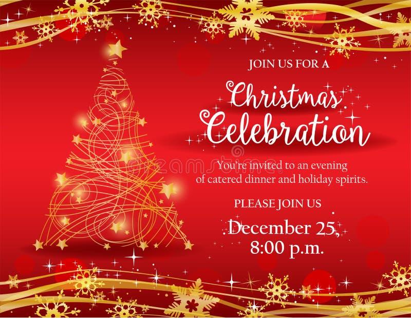 Invito della festa di Natale con l'albero decorativo dell'oro illustrazione di stock