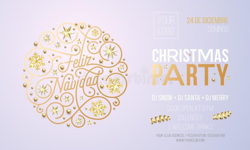 Invito della festa di Natale per il modello di progettazione di celebrazione di festa di Feliz Navidad dello Spagnolo Partito cor illustrazione di stock
