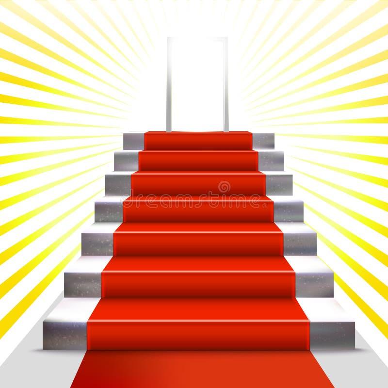 Invito di cerimonia dell'oro con la scala ed il tappeto rosso royalty illustrazione gratis