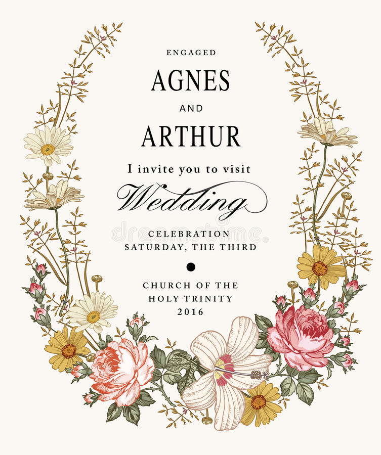 Invito di cerimonia nuziale Bella malva dell'ibisco di Rosa della camomilla dei fiori Cartolina d'auguri dell'annata Pagina Incis fotografie stock