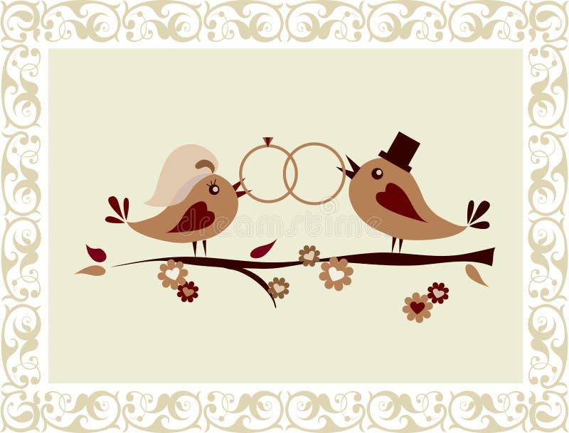 Invito di cerimonia nuziale con gli uccelli royalty illustrazione gratis