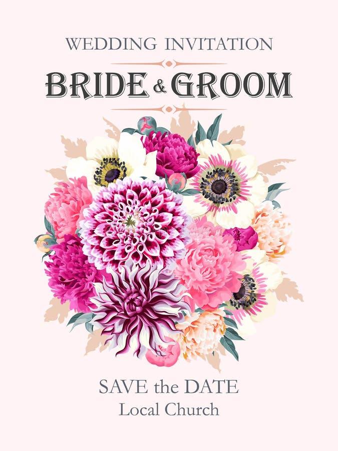 Invito di cerimonia nuziale con i fiori illustrazione vettoriale