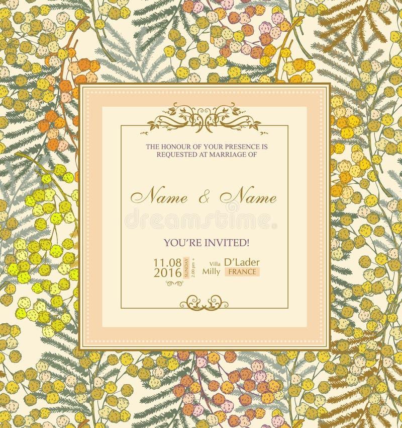 Invito di cerimonia nuziale con i fiori Mimosa della primavera illustrazione vettoriale