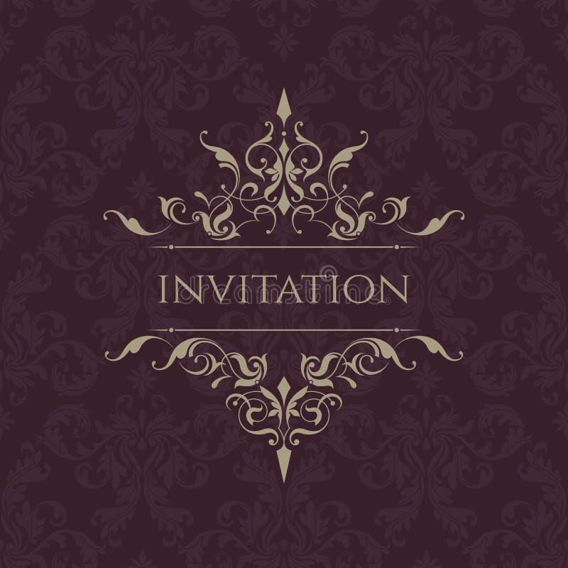 Invito di cerimonia nuziale Confine classico Struttura decorativa illustrazione vettoriale