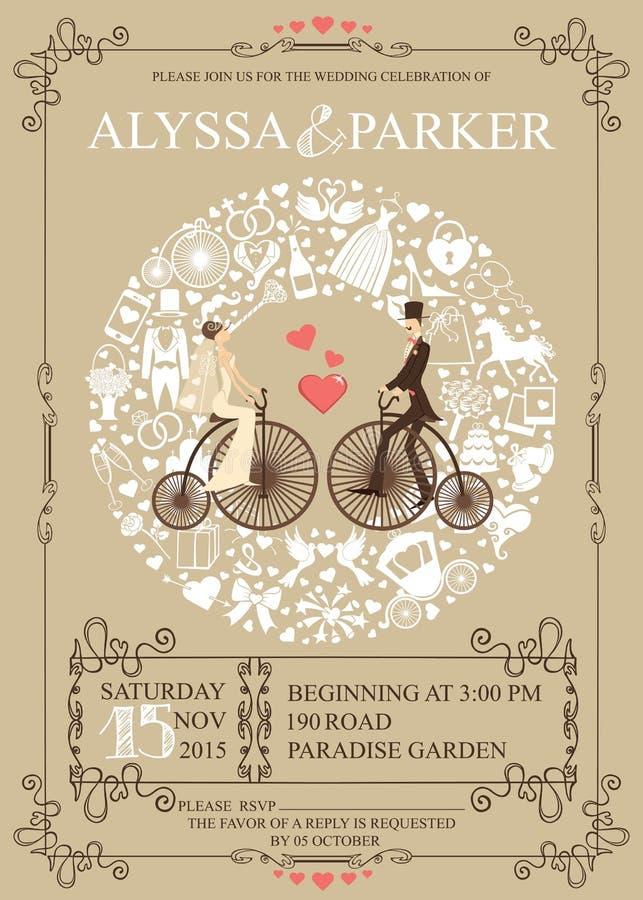 Invito di cerimonia nuziale Corona, sposa, sposo, retro illustrazione di stock