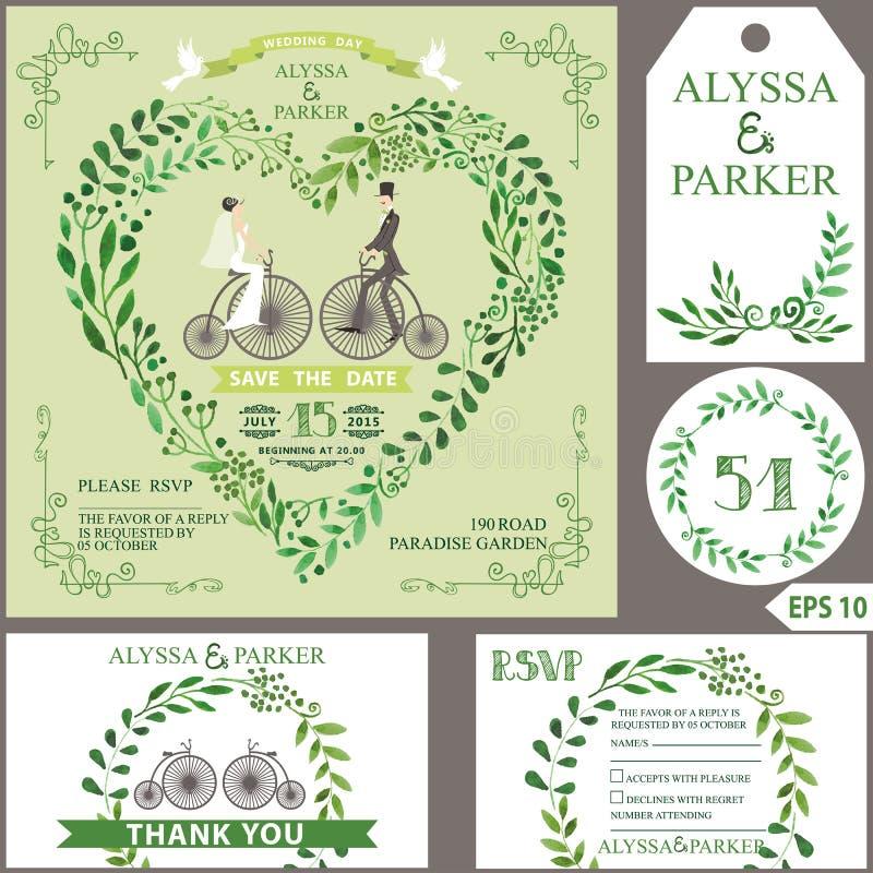 Invito di cerimonia nuziale Il verde si ramifica cuore, sposa, sposo, retro bicyc illustrazione vettoriale