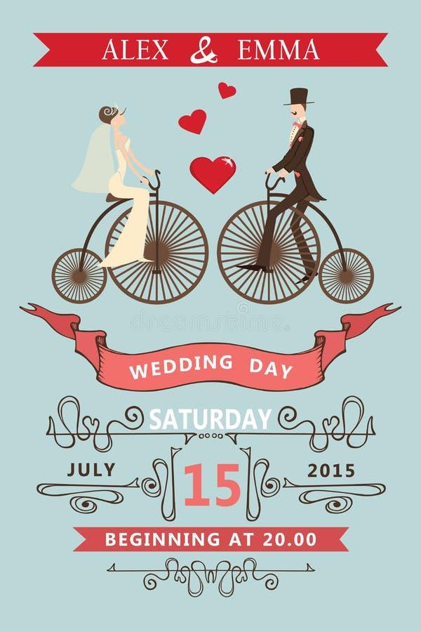 Invito di cerimonia nuziale Sposa del fumetto, sposo, retro bici royalty illustrazione gratis