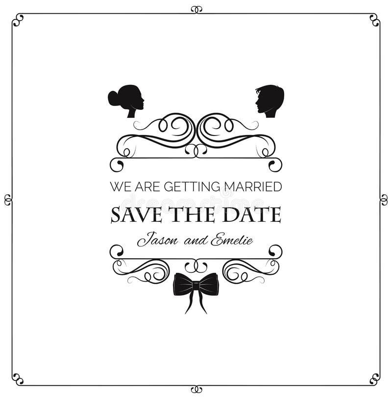 Invito di cerimonia nuziale Sposa e sposo della siluetta di vettore Illustrazione di vettore illustrazione di stock