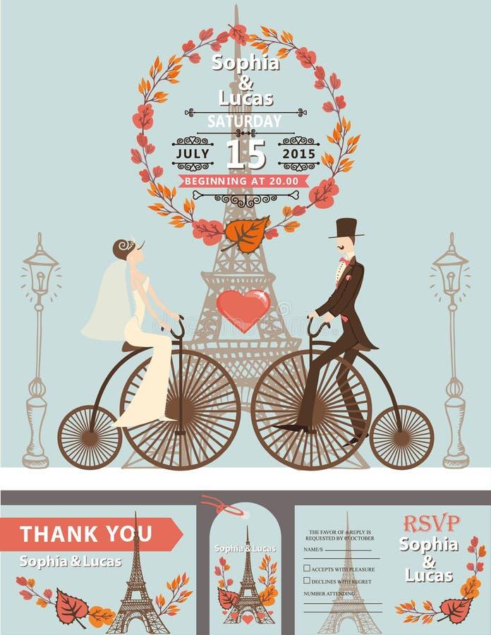Invito di cerimonia nuziale Sposa, sposo, retro bici eiffel illustrazione vettoriale