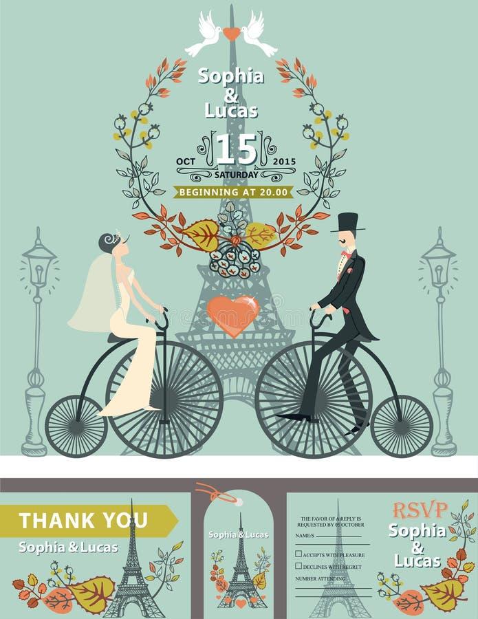 Invito di cerimonia nuziale Sposa, sposo, retro bici eiffel royalty illustrazione gratis