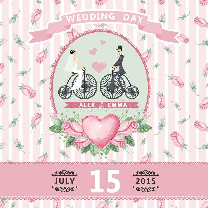 Invito di cerimonia nuziale Sposa, sposo, rose dell'acquerello royalty illustrazione gratis