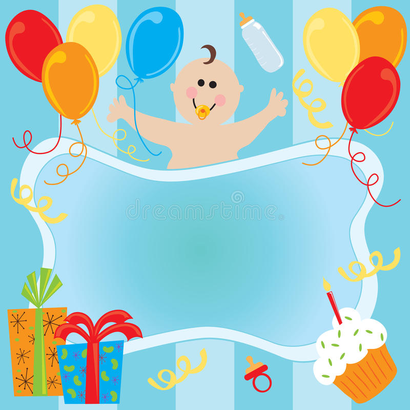 Invito di compleanno del neonato illustrazione vettoriale