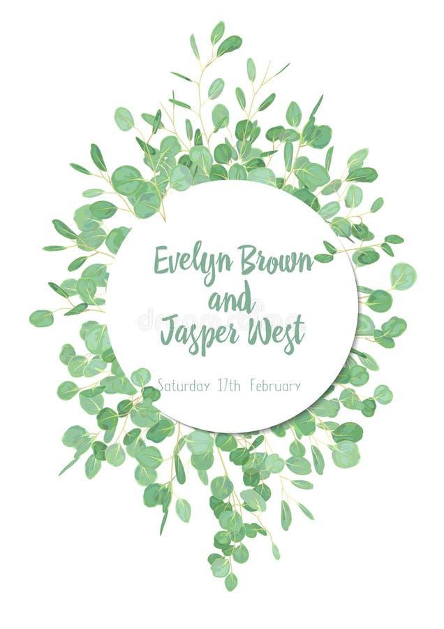Invito di erbe di nozze, cartolina d'auguri, insegna, certificato, l illustrazione di stock