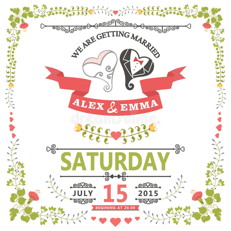 Invito di nozze con cuore stilizzato e la struttura floreale illustrazione di stock