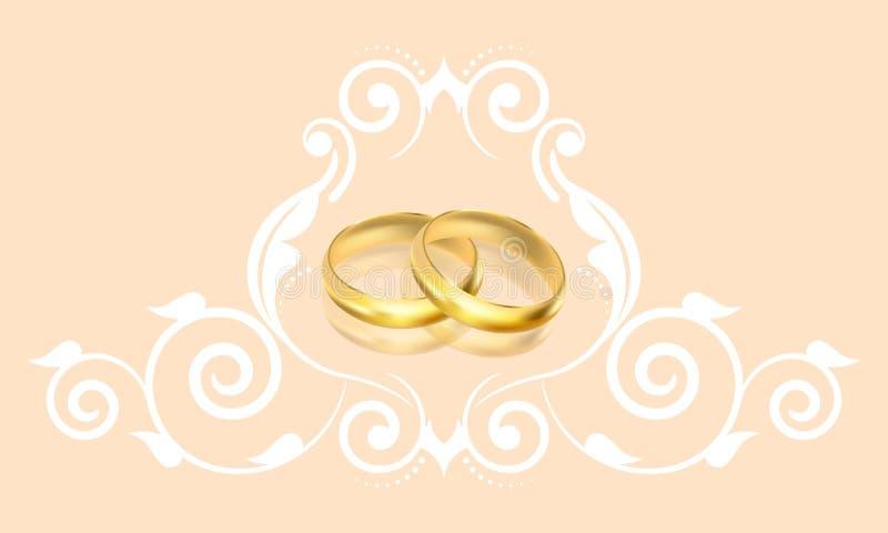 Invito di nozze con gli anelli di oro e la decorazione floreale illustrazione di stock