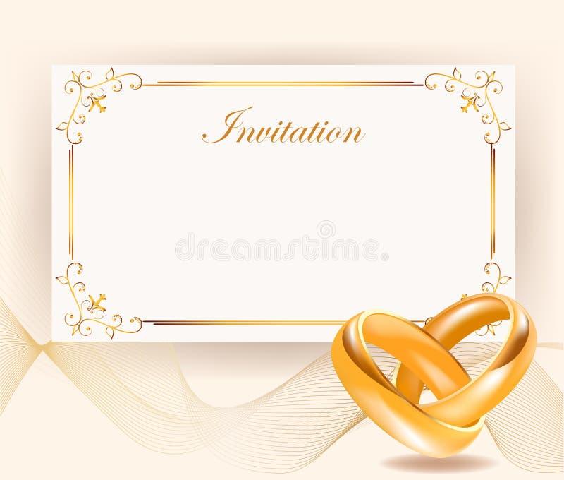 Invito di nozze con gli anelli dorati nel retro stile royalty illustrazione gratis
