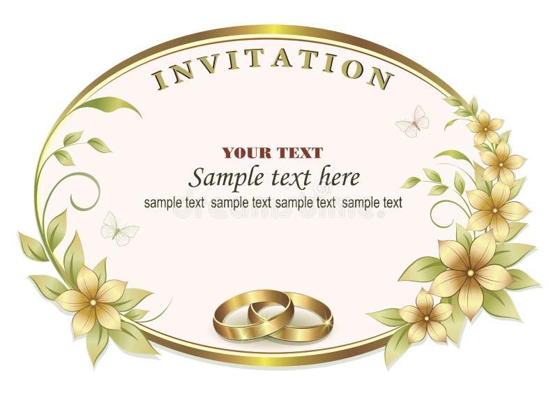 Invito di nozze con gli anelli nel telaio ovale royalty illustrazione gratis