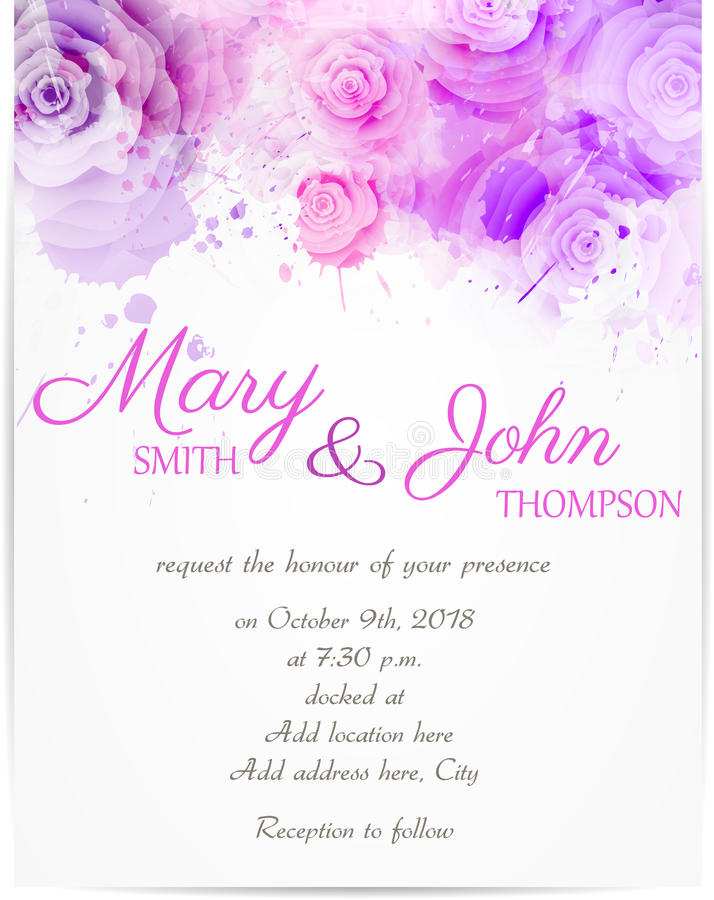 Invito di nozze con le rose astratte royalty illustrazione gratis