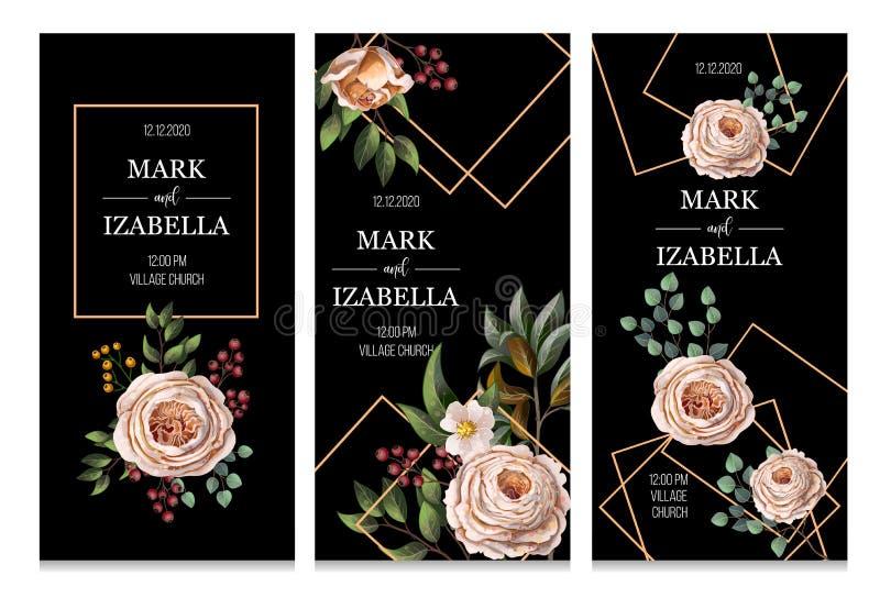 Invito di nozze con le rose inglesi, l'eucalyptus, i fiori e gli elementi dorati nello stile dell'acquerello Vettore royalty illustrazione gratis
