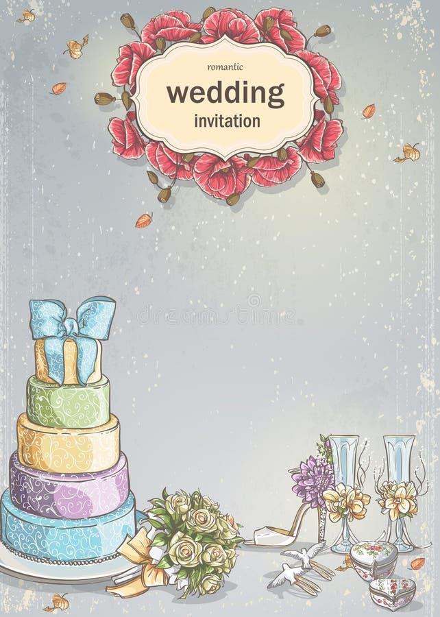 Invito di nozze con un'immagine degli oggetti di nozze, dolce, vetri di vino, un mazzo delle rose, colombe royalty illustrazione gratis