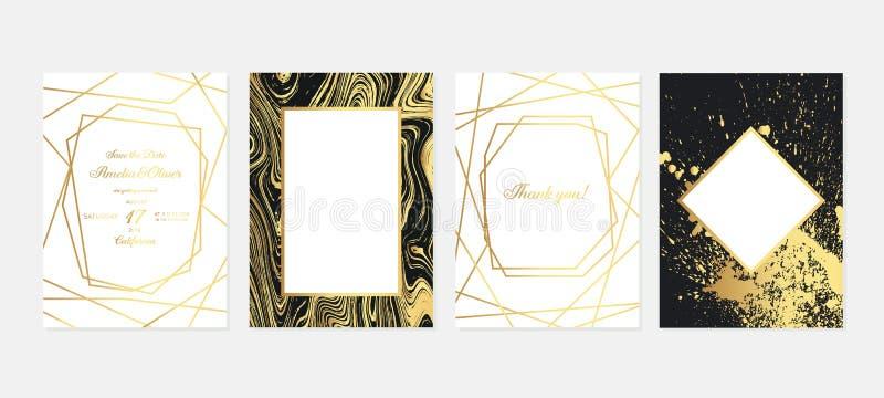 Invito di nozze dell'oro Carte di lusso dell'invito di nozze con struttura di marmo dell'oro ed il modello geometrico di progetta royalty illustrazione gratis
