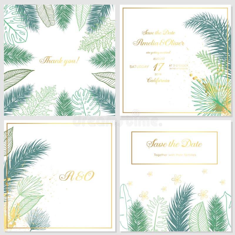 Invito di nozze dell'oro con le foglie tropicali Carte di lusso dell'invito di nozze con struttura di marmo dell'oro ed il modell royalty illustrazione gratis