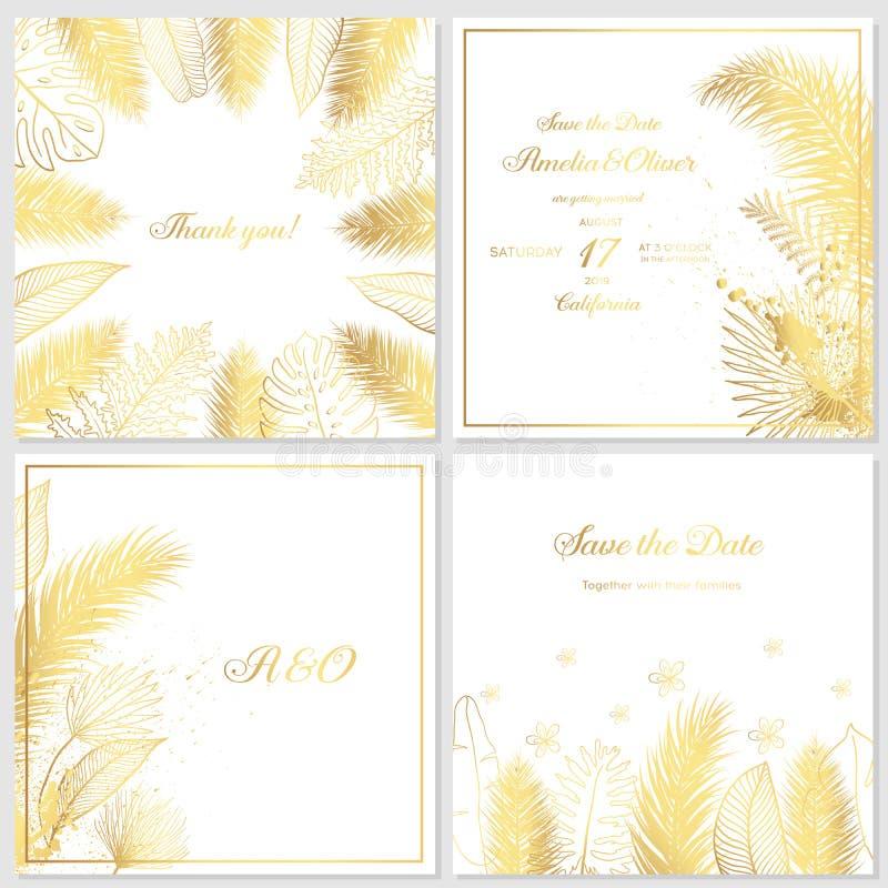 Invito di nozze dell'oro con le foglie tropicali Carte di lusso dell'invito di nozze con struttura di marmo dell'oro ed il modell illustrazione vettoriale
