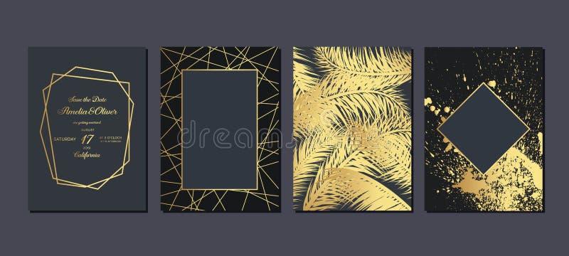 Invito di nozze dell'oro con le foglie tropicali Carte dell'invito di nozze con struttura di marmo dell'oro e geometrico di lusso royalty illustrazione gratis