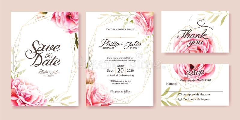 Invito di nozze della rosa di rosa Stile dell'acquerello Vettore illustrazione di stock