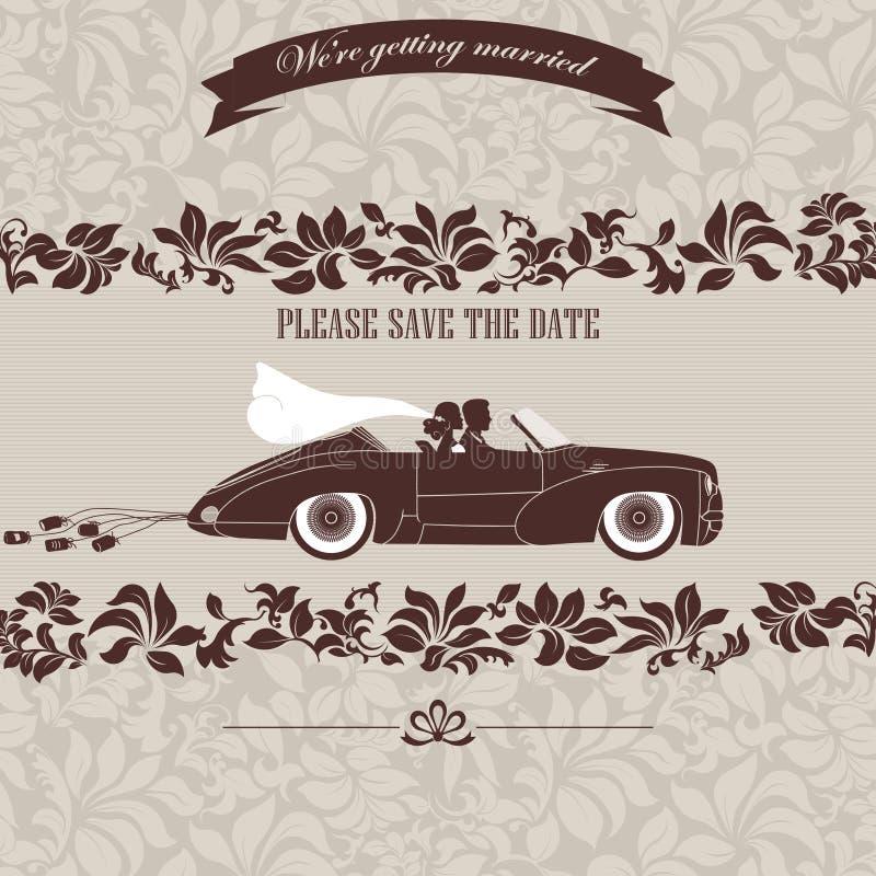 Invito di nozze, la sposa e sposo in automobile illustrazione vettoriale