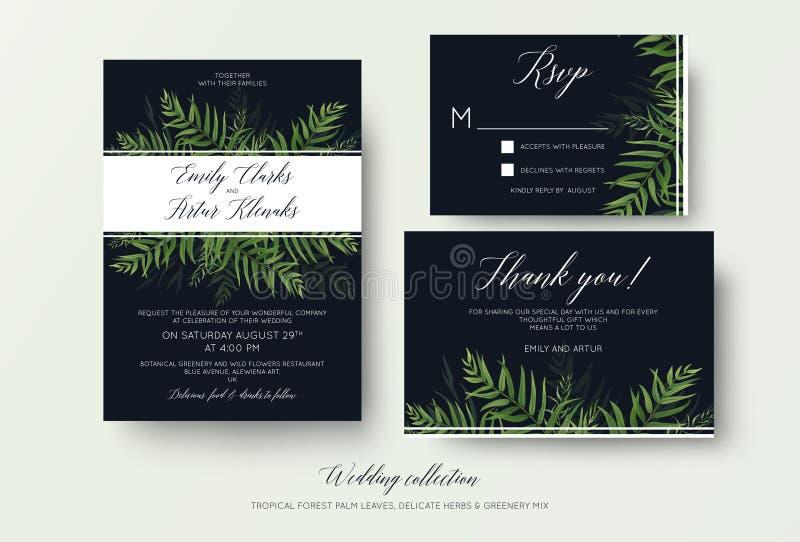 Invito di nozze, rsvp, grazie carda la progettazione floreale con gre royalty illustrazione gratis