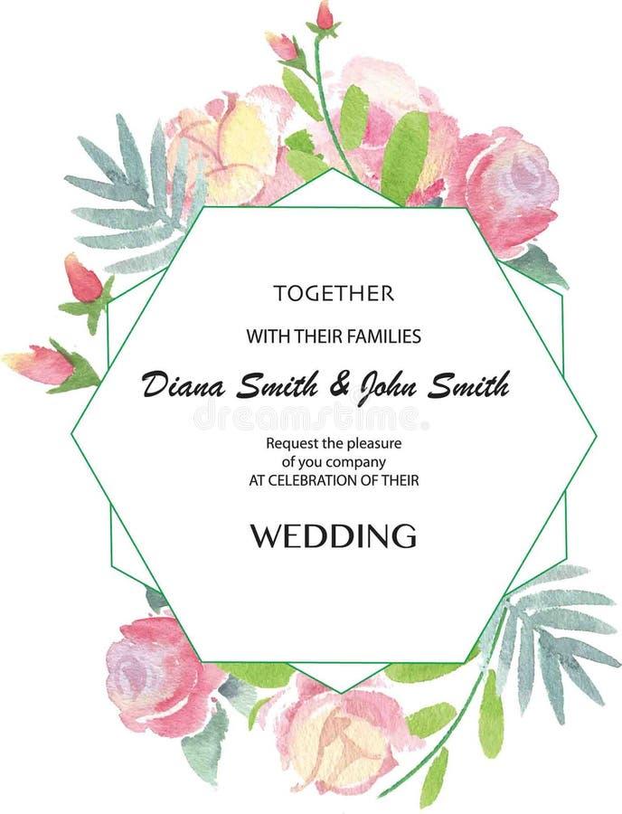 Invito di nozze di vettore con le rose dell'acquerello royalty illustrazione gratis