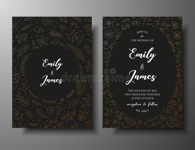 Invito dorato di nozze di vettore con i ramoscelli, i fiori e i brahches disegnati a mano Modello botanico elegante scuro per royalty illustrazione gratis