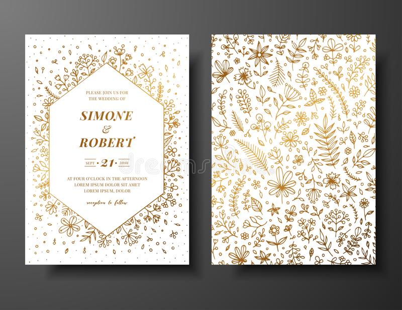 Invito dorato di nozze di vettore con i ramoscelli, i fiori e i brahches disegnati a mano Modello botanico dorato per nozze illustrazione vettoriale