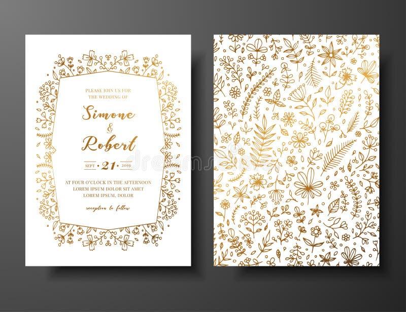 Invito dorato di nozze di vettore con i ramoscelli, i fiori e i brahches disegnati a mano Modello botanico dorato per nozze royalty illustrazione gratis