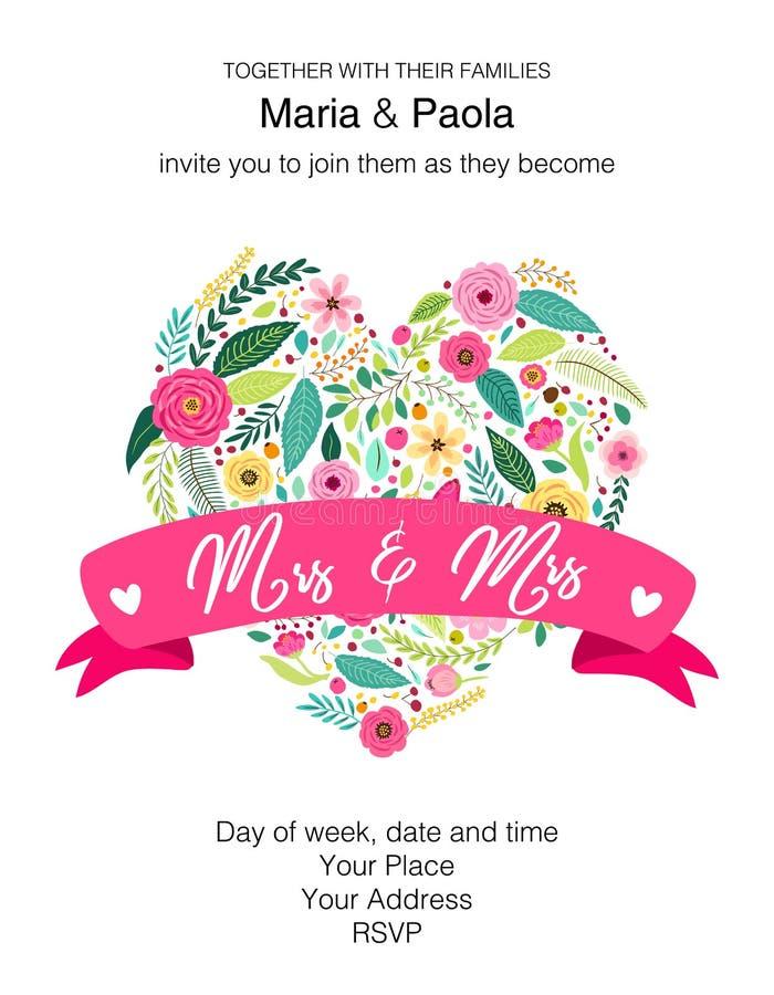 Invito floreale di belle nozze femminili per la coppia dello stesso sesso illustrazione di stock