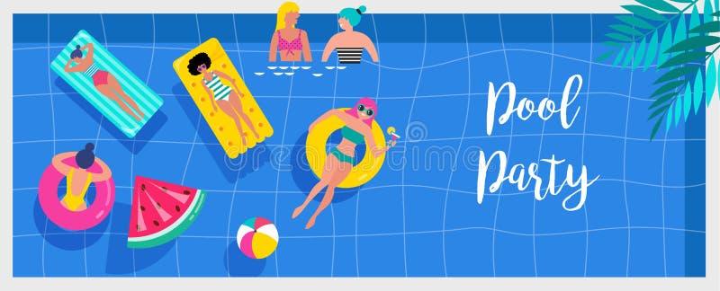 Invito, fondo ed insegna della festa in piscina con la gente miniatura che nuota e che si diverte sullo stagno Vettore illustrazione di stock
